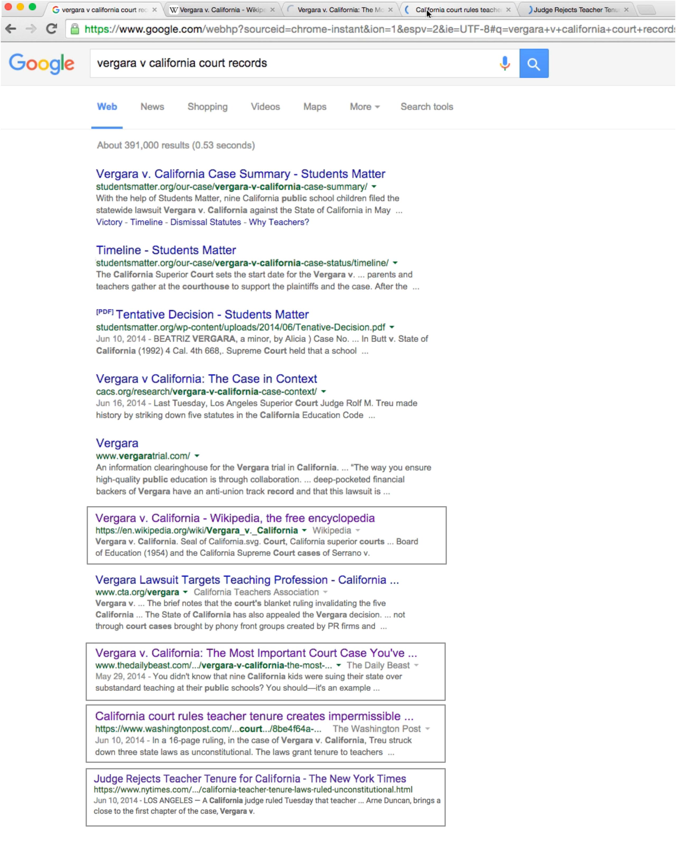 核查员 D 的搜索结果和打开的标签页